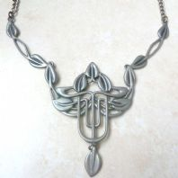 Large Statement Pewter, Rennie Mackintosh Style, Statement Necklace By Ortak.